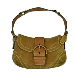 Coach Women Small Single Strap Suede Satchel Purse